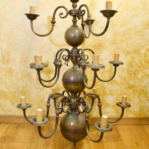 Антикварная люстра на 14 свечей, латунь, Европа