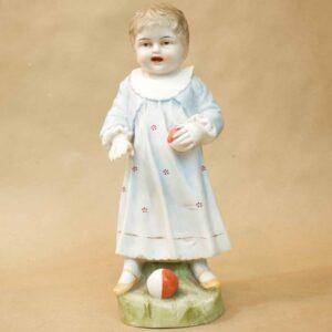 Антикварный бисквитный фарфор Девочка с мячиком