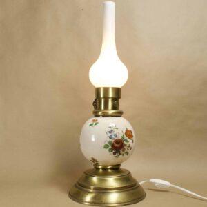 Антикварная настольная лампа, фаянс, Европа