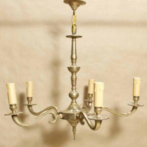 Антикварная потолочная люстра 5 лампочек, бронза, Европа
