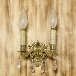 антикварное бронзовое бра на две лампы