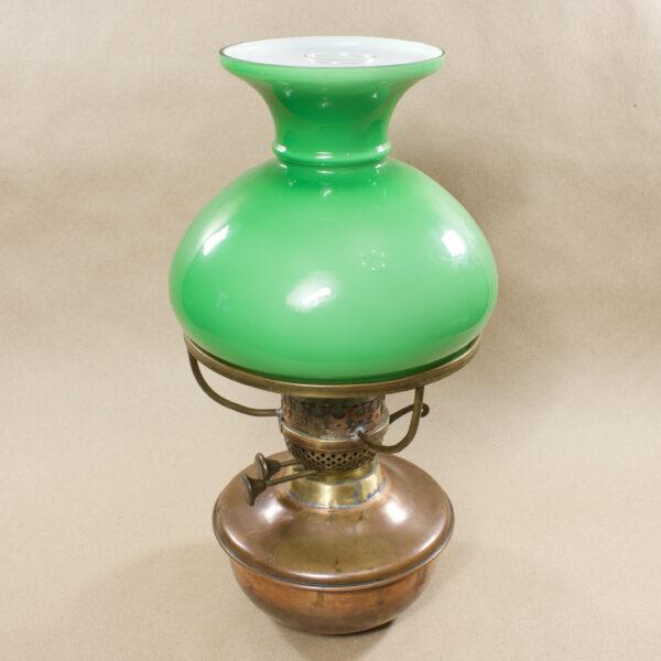 керосиновая лампа 2 фитиля зелёное стекло