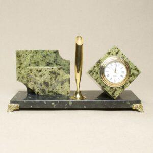 Кабинетный настольный набор с часами змеевик 15181