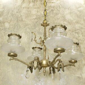 Антикварная восьмирожковая люстра бронза хрусталь стекло 15849