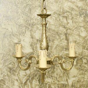 Антикварная люстра на три свечи бронза 15981